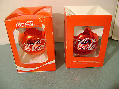Set of 2 Coca Cola Hand-Crafted Glass Christmas Ornaments - Bear in Gold Scarf