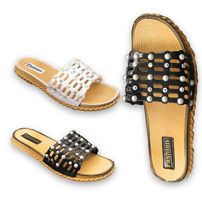 Womens Ladies Pearl Slider Flat Summer Sandals Cage Slides Bling Diamante Size