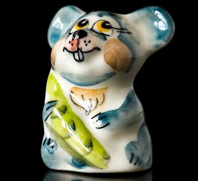 Porcelain gzhel * colorful mouse figurine * handmade in Russia