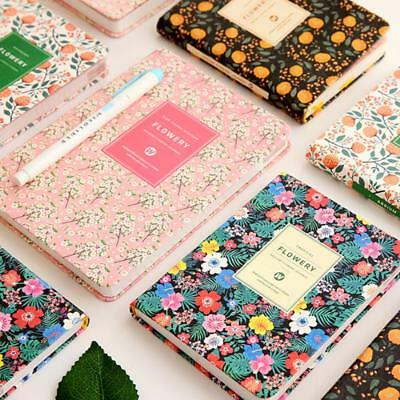 Floral Flower Korean PU Leather Cover Schedule Book Diary Weekly Monthly Planner