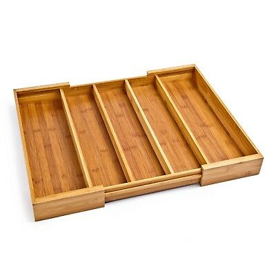 Expandable Seville Classics Bamboo 5 Large Compartment Adjustable Cutlery Drawer