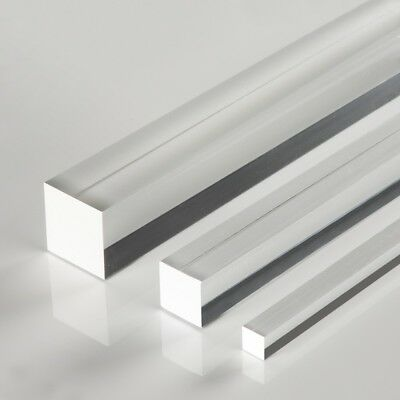 Acrylic Square Clear Rod Extruded Perspex FREE shipping CUT TO SIZE Lasercutting