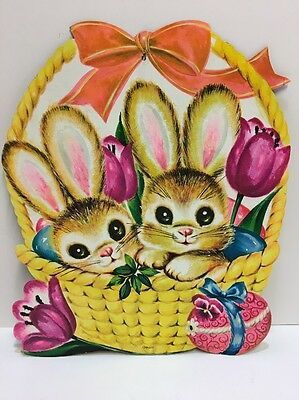 Vintage  LARGE Easter Bunny Decoration Die Cut Cardboard Bunnies In A Basket