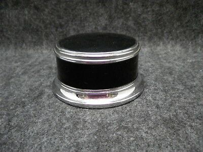 Art Deco Vanity Powder Box Black & Silver Tone Engine Turned Collectible Dresser