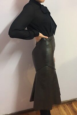 Vintage Chocolate Brown Leather Skirt - Must See!