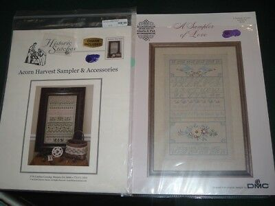 2 Vtg Lot Heirloom Cross Stitch Charts Samplers Love Historic Stitches NICE #R11