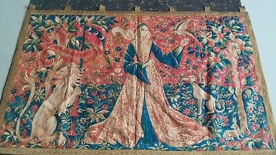 """Antique 19c Aubusson French print Out line Tapestry    size 30""""x48""""(cm77x122)"""