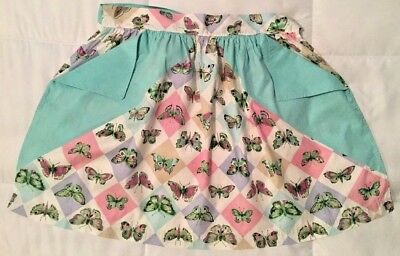 Vintage Hand Made Cotton Butterfly Pattern Two Pocket Apron 1950's Era