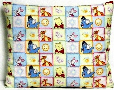 Pooh Toddler Pillow on multi-color squares 100%Cotton P18-4 New Handmade