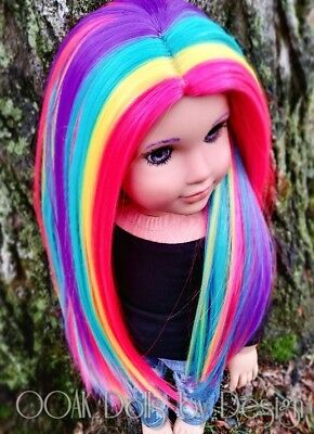 """OOAK 10-11 wig for American Girl Dolls and other 18"""" dolls in Electric Rainbow"""