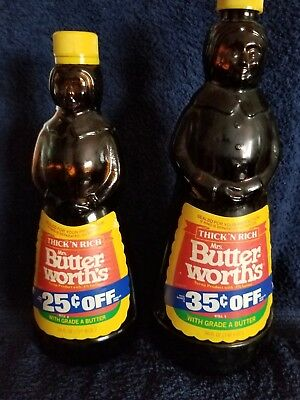 2) Vintage Mrs. Butterworth's Brown Syrup Bottles in Excellent Condition