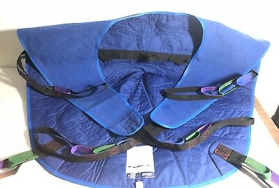 Drive Medical 13262L Divided Leg Patient Lift Sling with Headrest, Blue, Large