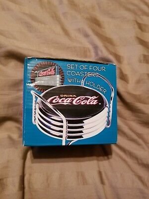 Coca Cola Diner Collection Set Of Four Coasters With Holder