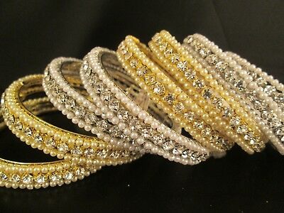 Indian Bollywood diamante Pearl crystal Silver Gold colour bangle bracelet