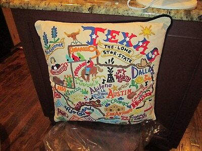 Catstudio Pillow TEXAS Embroidered 20 by 20 NWT