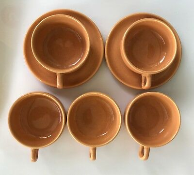 Russel Wright Steubenville..american Modern Saucers And Cups..cantaloupe Color