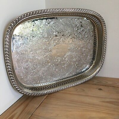 Vintage Oval Silver Plated on Brass English Gallery Champagne Tray 40cm x 29cm