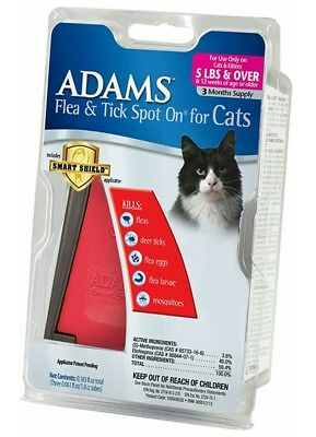 ADAMS Flea Drops And Tick Spot On For Cats, Over 5 lbs, 3 Mo Supply W Applicator
