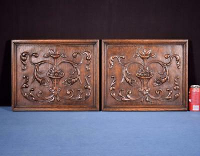 *Pair of Antique French Renaissance Carved Solid Oak Panels with Flowers