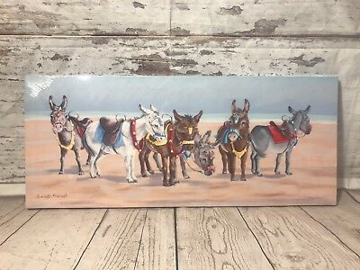 Holiday Donkey Canvas Picture By Seaside On Beach New Ready To Hang Gift Animal