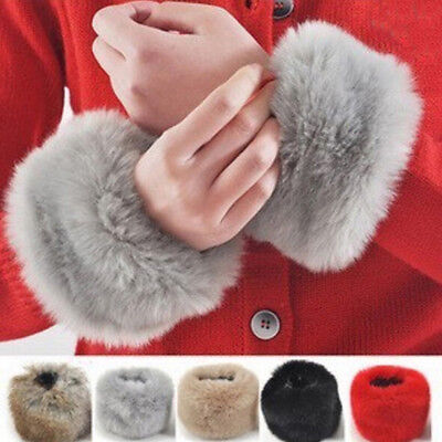 Women Warm Winter Faux Fur Muff Plush Cuff Oversleeve Wristband Elastic GlovesRR