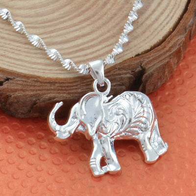 Women 925 Silver Wedding Party Elephant Necklace Pendant with Chain  Jewelry