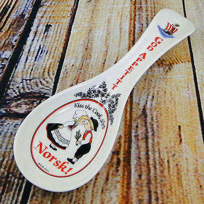 Kiss the Cook, She's Norsk! Kissing Couple Ceramic Spoon Rest Viking Ship Norway