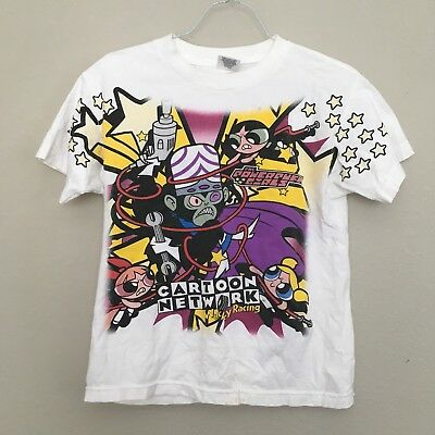 Vintage 2001 Powerpuff Cartoon Network Wacky Racing T-Shirt Shirt Youth14-16 XS