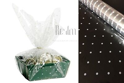 White Doted Clear Cellophane Wrapping Gift Paper | Wedding Birthday Hampers Wrap