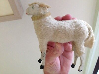 Large Antique German Wolly Putz Sheep With Paper Neck Ring