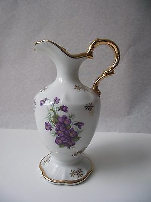 Beautiful LIMOGES Castel Vase/Jug with Gold Gilding 15cm Tall - Violets on white