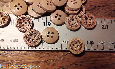 Job Lot 100 Small Round Buttons 13mm 4 Holes Wood Light Wood Engraved Fashion