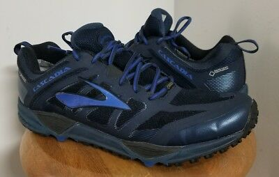 bd97d28d5905c BROOKS MENS CASCADIA 11 GTX Blue Mesh Running Athletic Soccer Shoes ...