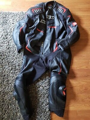 Spidi Track Wind Pro Race Suit Leather Motorcycle Black/White/Red size 62
