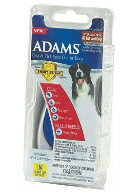 Adams Flea and Tick Spot On for Dogs 81 lbs & Over with Smart Shield Applicator