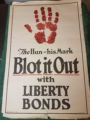 Wwi Us Poster The Hun - His Mark Blot It Out With Liberty Bonds Original  Wwi