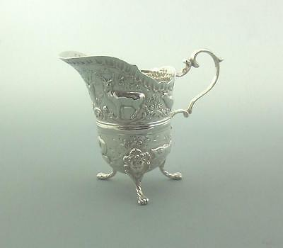 Antique Solid Silver Highly Decorative Cream Jug,Dolphins, Fish,Deer,Fox,Pheasan