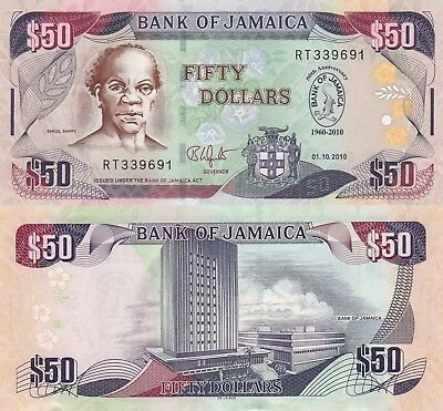 Jamaica 50 Dollars (2010) - 50 Year Bank of Jamaica Commemorative/p88 UNC