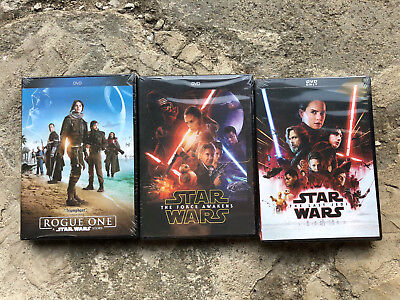 Star Wars The Force Awakens The Last Jedi Rogue One 3-Movie DVD Bundle