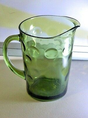 Vintage Beautiful Deep Green Colour Glass Lrg Water Jug W/ Round Patent