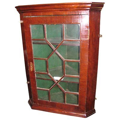 Antique English Georgian Mahogany Corner Cupboard Circa 1780