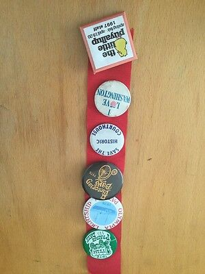 6 Vintage Washington State Fair Festival Pinback Buttons Olympia Yelm Puyallup