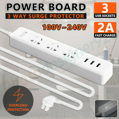Power Board 3 Way Outlets Socket 3 USB Charging Charger Ports w/ Surge Protector