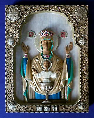 Wooden Carved Hand Painted Russian Greek Orthodox Icon Mother Of God