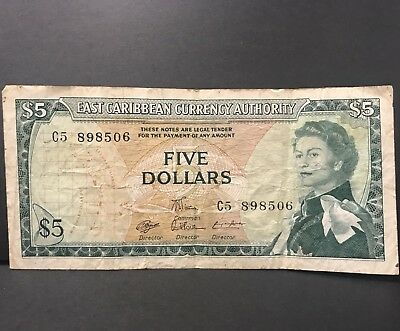 1965 EAST CARIBBEAN STATES FIVE DOLLARS NOTE p14g CIRCULATED Currency Authority