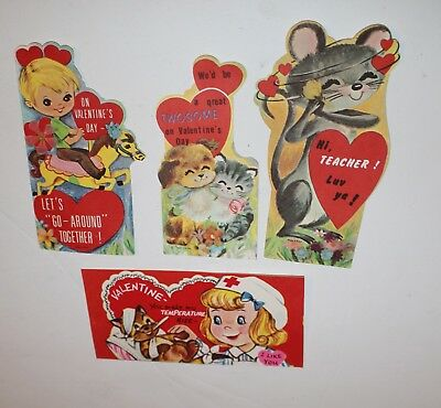 Lot of 4 Vintage Valentine's Day Cards Various Brands Small 1960's 60's 70's #18