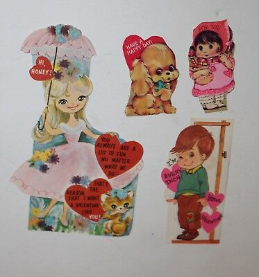 Lot of 4 Vintage Valentine's Day Cards Various Brands Small 1960's 60's 70's #4