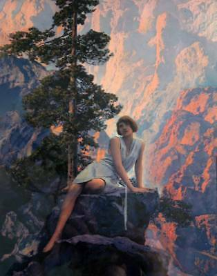 """Lady on Mountain Cliff, """"Solitude"""" by Maxfield Parrish"""
