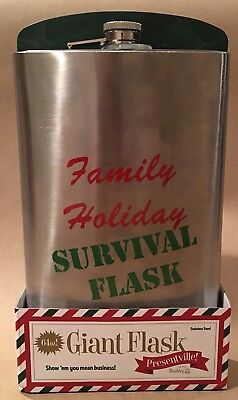 64oz Family holiday survival Flask Stainless Steel w Cap Party Novelty Gift Gag