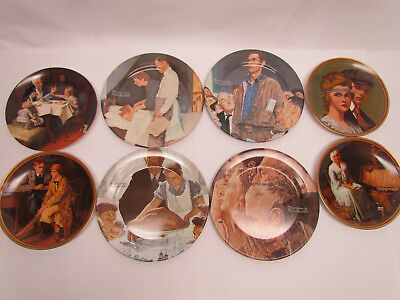 LOT OF 8 Norman Rockwell Collector Plates incl Four Freedoms + 4 Knowles vintage